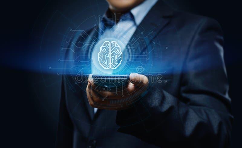 Cyfrowej Sztucznej inteligenci AI maszynowego uczenie technologii Internetowej sieci Móżdżkowy Biznesowy pojęcie zdjęcie stock