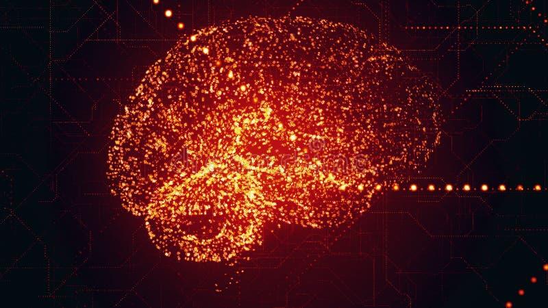 Cyfrowej Sztucznej inteligenci jaskrawi czerwoni móżdżkowi apperas w binarnych dane skanują royalty ilustracja