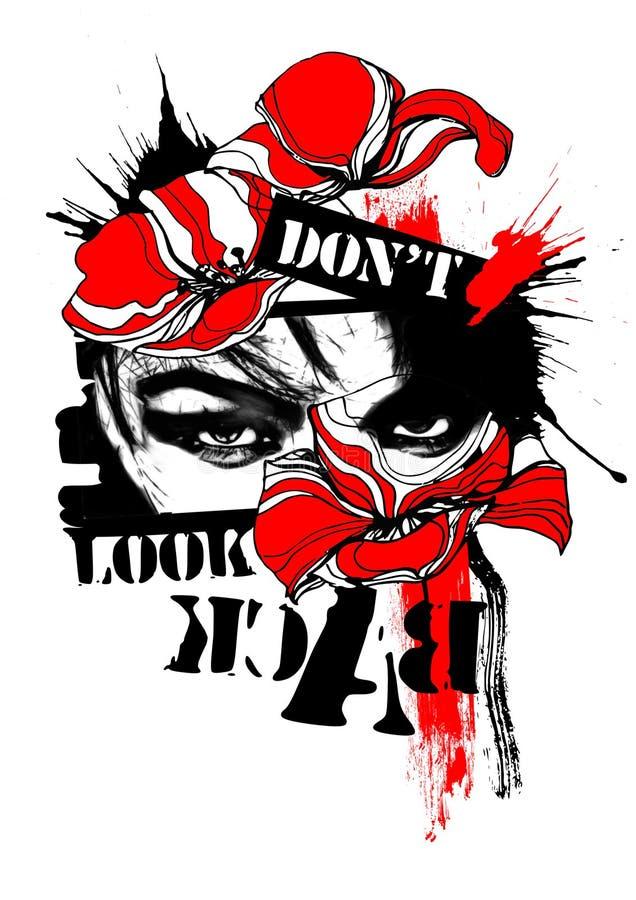 Cyfrowej sztuka no patrzeje z powrotem grunge maczków czerwieni czerni ilustracji