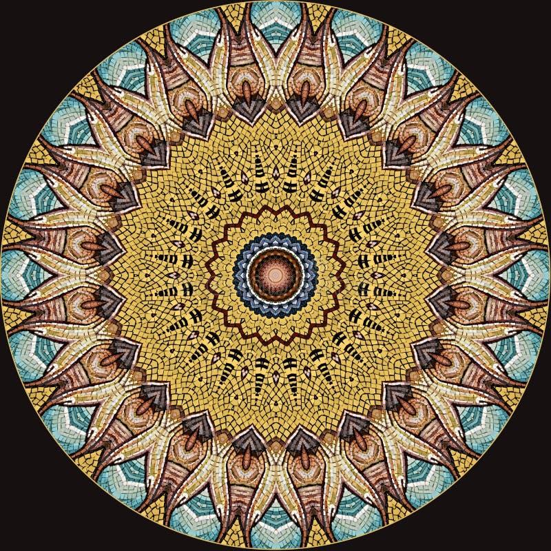 Cyfrowej sztuki projekt, mozaika wzór w turkusowy złoty i brown royalty ilustracja