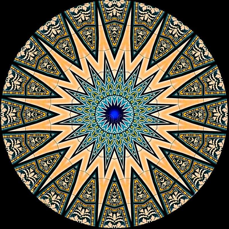 Cyfrowej sztuki projekt, wzór z płytka widzieć kaleidosco ilustracja wektor