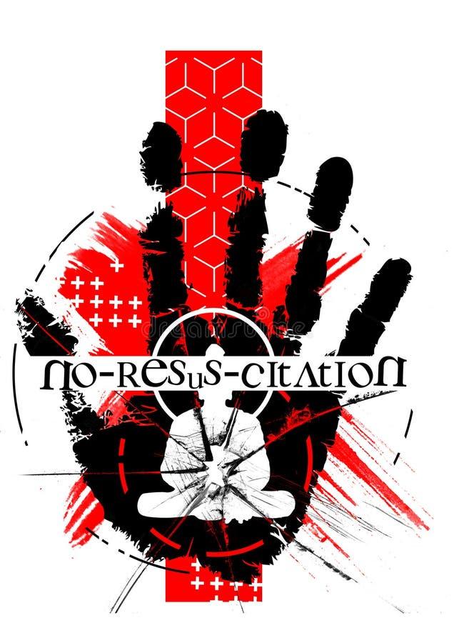 Cyfrowej sztuki strachu horroru grunge grata polki resuscitation smudge czerń ilustracja wektor