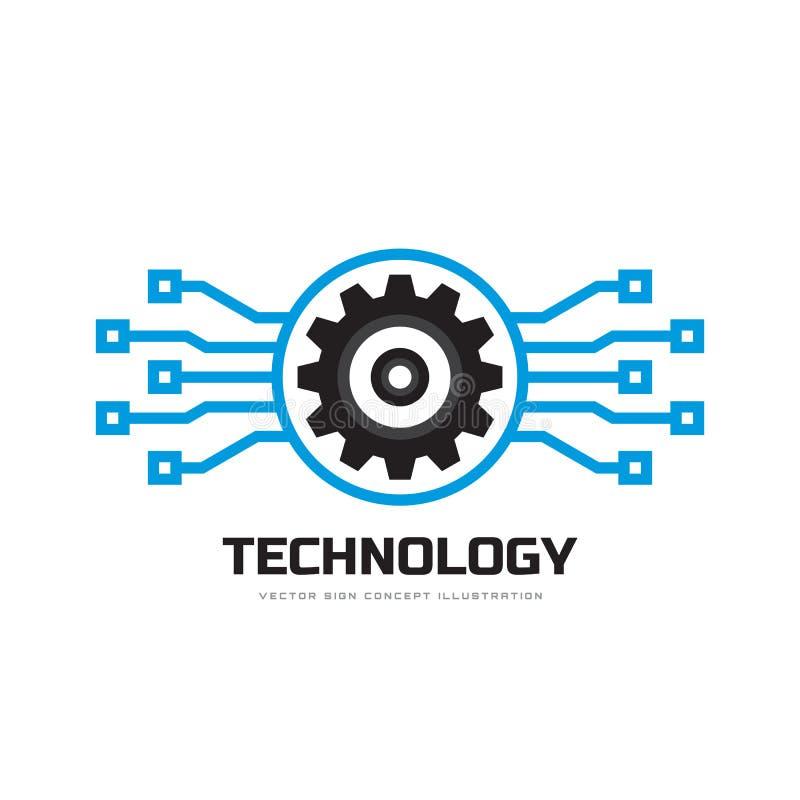 Cyfrowej technika - wektorowa biznesowa loga szablonu pojęcia ilustracja Przekładni fabryki elektroniczny znak Cog koła technolog royalty ilustracja