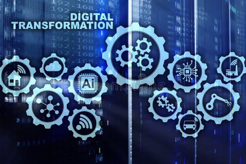Cyfrowej transformacji pojęcie digitalizacja technologii rozwój biznesu Datacenter tło royalty ilustracja