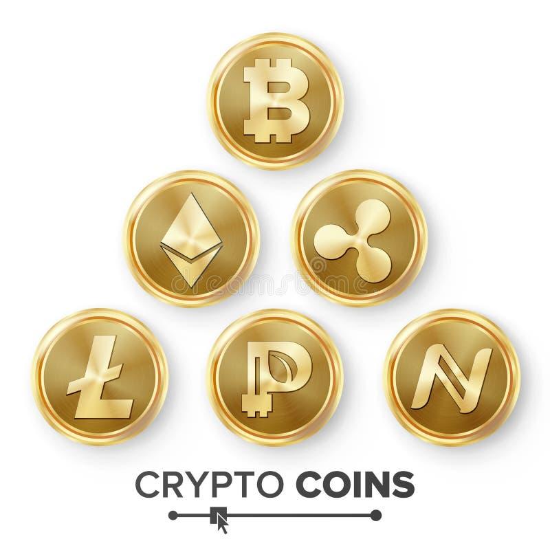 Cyfrowej waluty kontuaru ikony Ustalony wektor Fintech Blockchain Sławna Światowa kryptografia ukuwać nazwę dolarowego euro złoto ilustracji