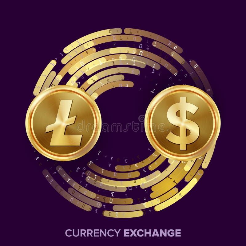 Cyfrowej waluty pieniądze wymiany wektor Litecoin, dolar Fintech Blockchain Złociste monety Z Cyfrowego strumieniem royalty ilustracja
