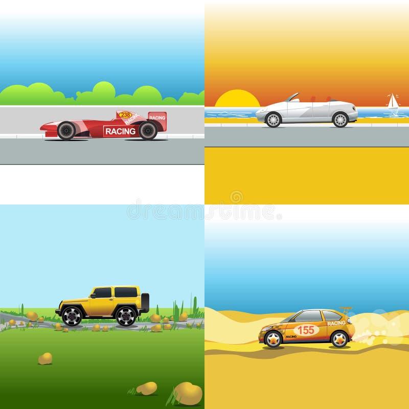 Cyfrowej wektorowa czerwień, pomarańcze i srebro samochodu samochód, ilustracji