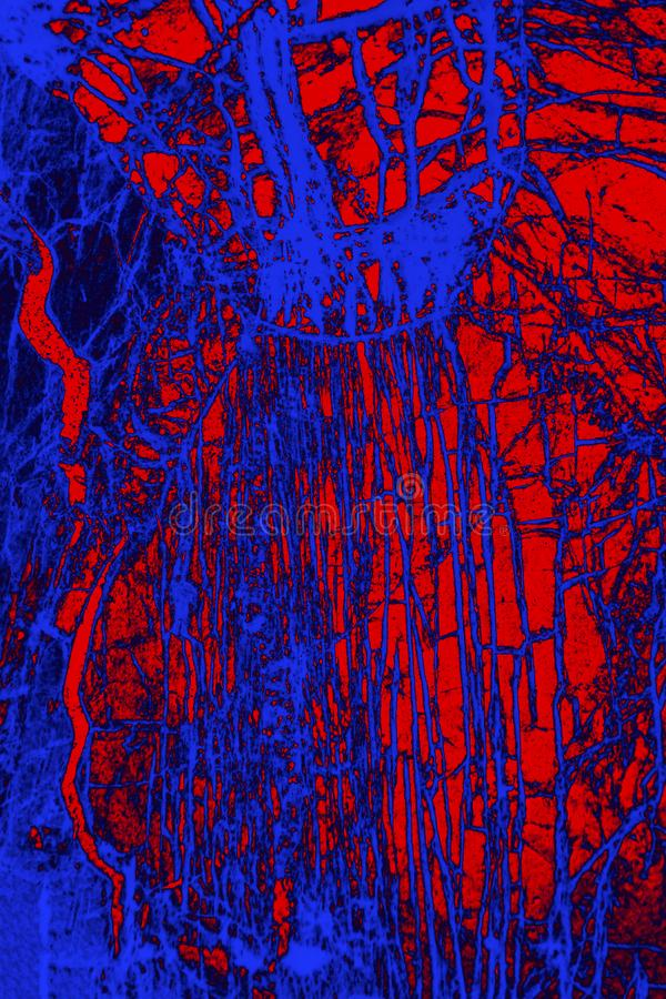 Cyfrowo manipulujący, abstrakcjonistyczny micrograph olivine pyroxenite z polariztion fotografia royalty free