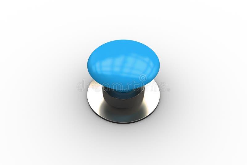 Cyfrowo wytwarzający błyszczący błękitny pchnięcie guzik royalty ilustracja