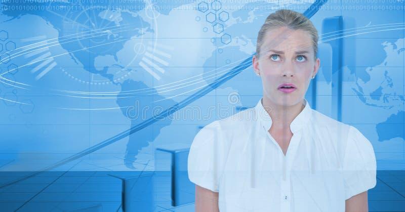 Cyfrowo wytwarzający wizerunek bizneswoman i wirtualny ekran royalty ilustracja
