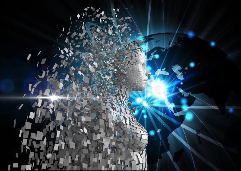 Cyfrowo wytwarzający wizerunek 3d istota ludzka nad rozjarzoną kulą ziemską zdjęcie stock