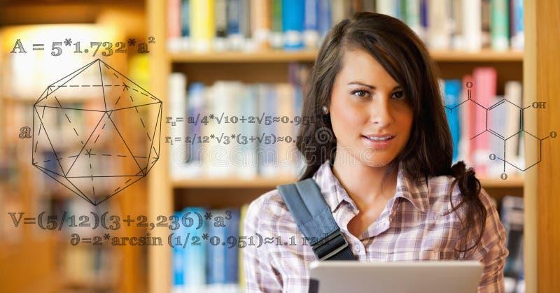 Cyfrowo wytwarzający wizerunek matematycznie struktura żeńskim studentem collegu w bibliotece zdjęcia stock