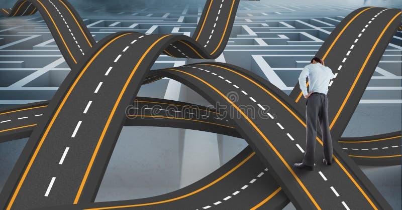 Cyfrowo wytwarzający wizerunek zmieszana biznesmen pozycja na falistej drodze w niebie obrazy stock