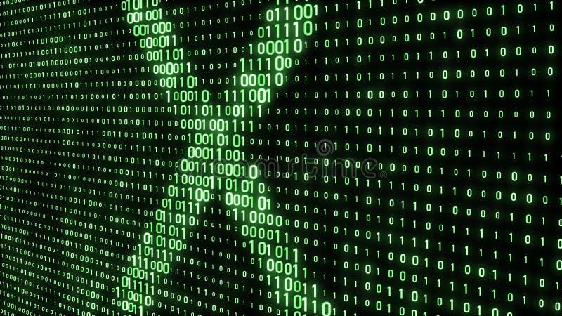 cyfrowy abstrakcyjne t?o kod binarny abstrakt?w kszta?ty Zielony Kolor ?wiadczenia 3 d royalty ilustracja