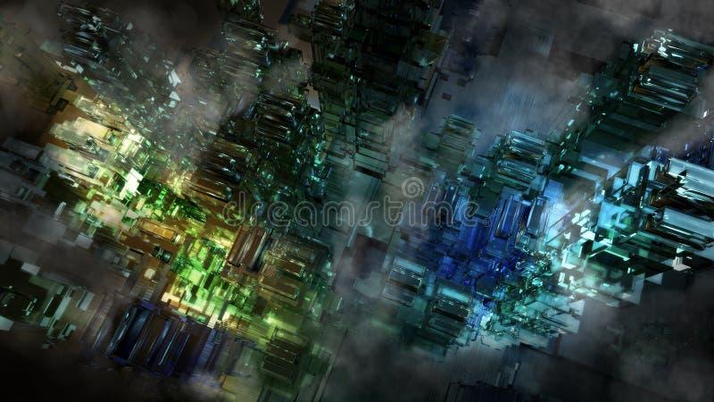 CYFROWY CYBER miasto royalty ilustracja
