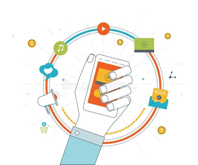 Cyfrowy i mobilny marketingowy pojęcie dof ręce karty ogniska płytki zakupy online bardzo Inwestorski biznes royalty ilustracja