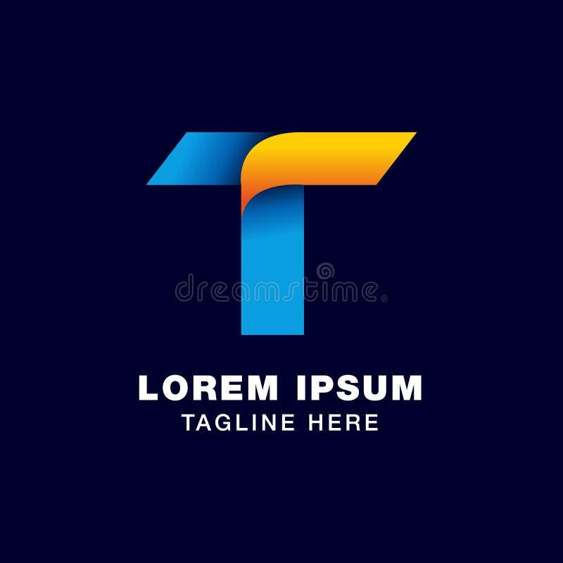 cyfrowy listu t logo szablon w gradientach projektuje błękit, kolor żółty i pomarańczowy kolor, ilustracja wektor