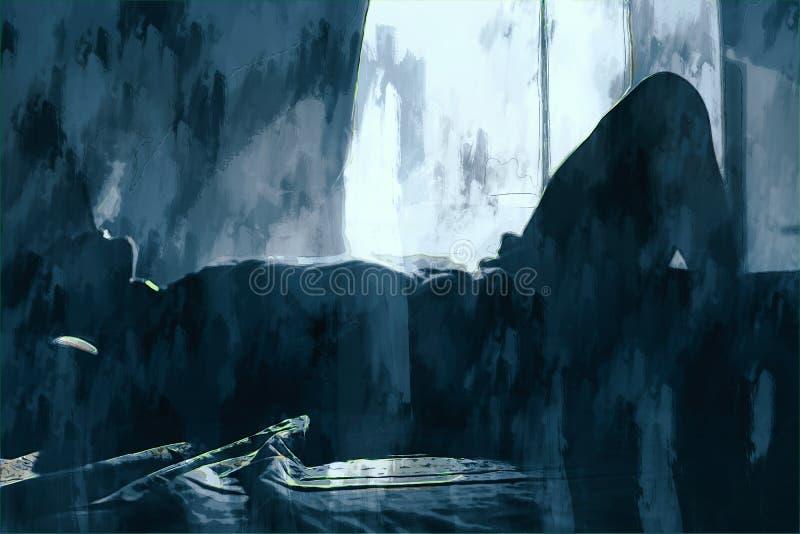 Cyfrowy obraz smutnego mężczyzny myślącego o czymś ilustracja wektor