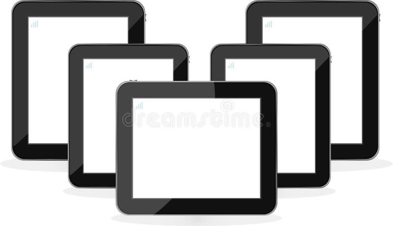 cyfrowy odosobniony komputer osobisty ustawiający pastylki biel ilustracji