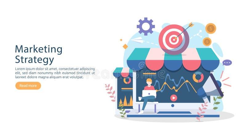 cyfrowy strategii marketingowej pojęcie z malutkimi ludźmi charakterów online ecommerce biznes w nowożytnym płaskim projekta szab ilustracji