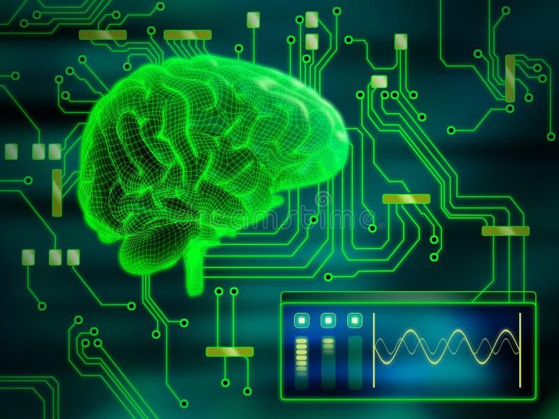 cyfrowy umysł ilustracja wektor