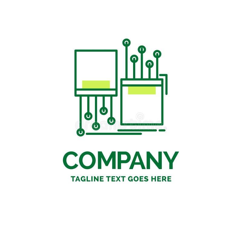 cyfrowy, włókno, elektroniczny, pas ruchu, kablowy Płaski Biznesowy logo templ ilustracji