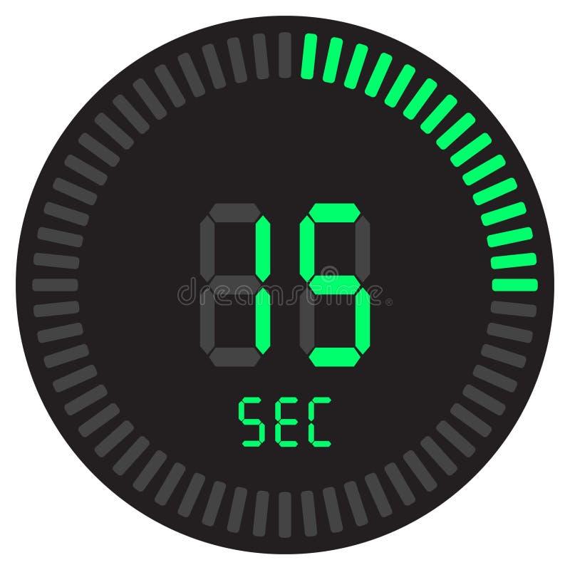 Cyfrowy zegar 15 sekund elektroniczny stopwatch z gradientową tarczą zaczyna wektorową ikonę, zegar i zegarek, zegar, odliczanie ilustracji