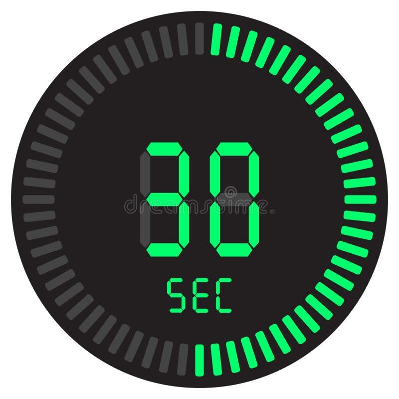 Cyfrowy zegar 30 sekund elektroniczny stopwatch z gradientową tarczą zaczyna wektorową ikonę, zegar i zegarek, zegar, odliczanie ilustracji