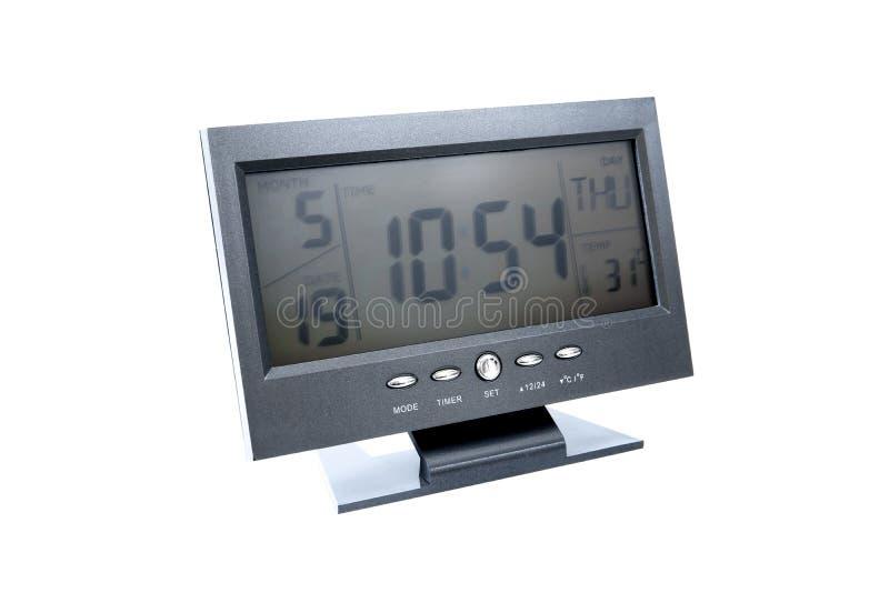 Cyfrowy zegar w telewizja stylu odizolowywaj?cym na bia?ym tle zdjęcia stock