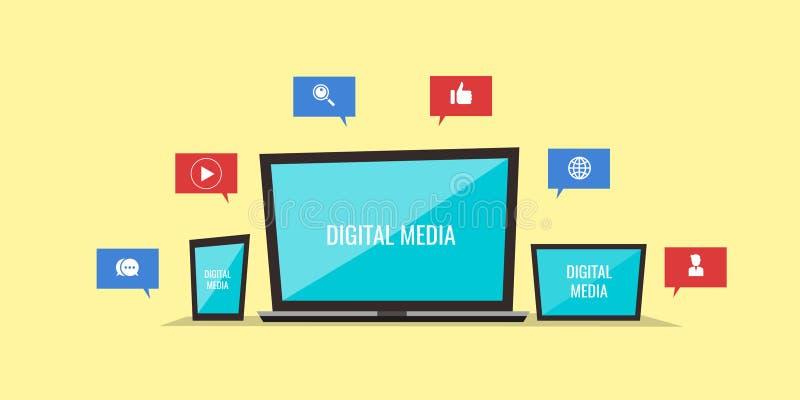 Cyfrowych środki, laptop, wisząca ozdoba, pastylka, łączyli z each inny ilustracji