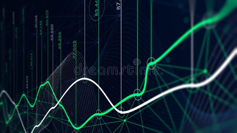 Cyfrowych analityka pojęcie, dane unaocznienie, pieniężny rozkład, monitoru ekran w perspektywie ilustracja wektor