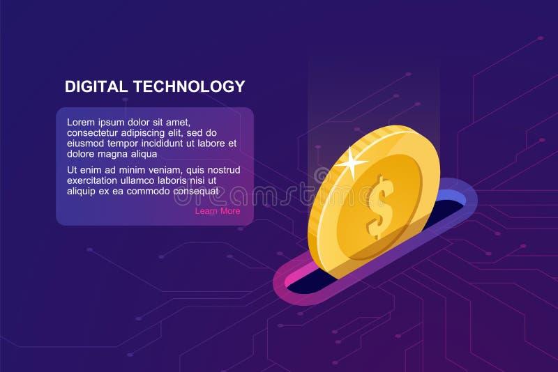 Cyfrowych bankowość online, isometric ikona spada moneta, elektroniczna internet kiesa, zarządzanie finansami online usługa royalty ilustracja