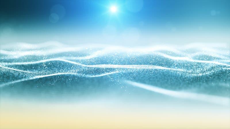 Cyfrowych cząsteczek morza fala i plaża styl z bokeh i światłem, tło dla lata pojęcia ilustracja wektor