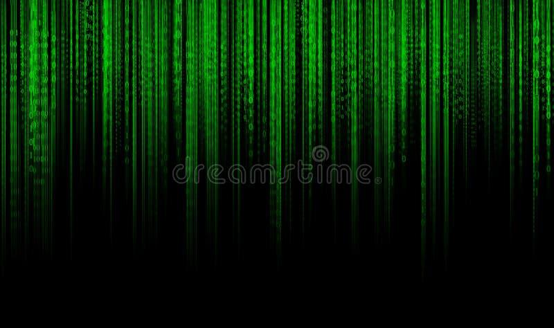 Cyfrowych dane binarnego kodu technologii matrycy tło, dane powodzi conectivity binarnego kodu futurystyczny programowanie w cybe royalty ilustracja