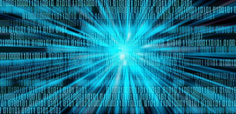 Cyfrowych dane binarnego kodu technologii matrycy tło, dane powodzi conectivity binarnego kodu futurystyczny programowanie w cybe ilustracja wektor