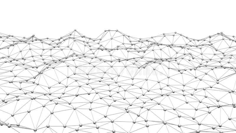 Cyfrowych dane i sieć związku trójbok wykłada i sfery ja ilustracja wektor