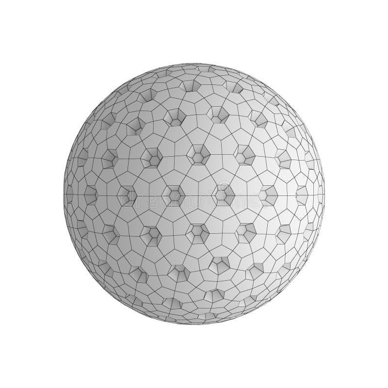 Cyfrowych dane i sieci sfera z dziurami odizolowywać na białym bac ilustracji