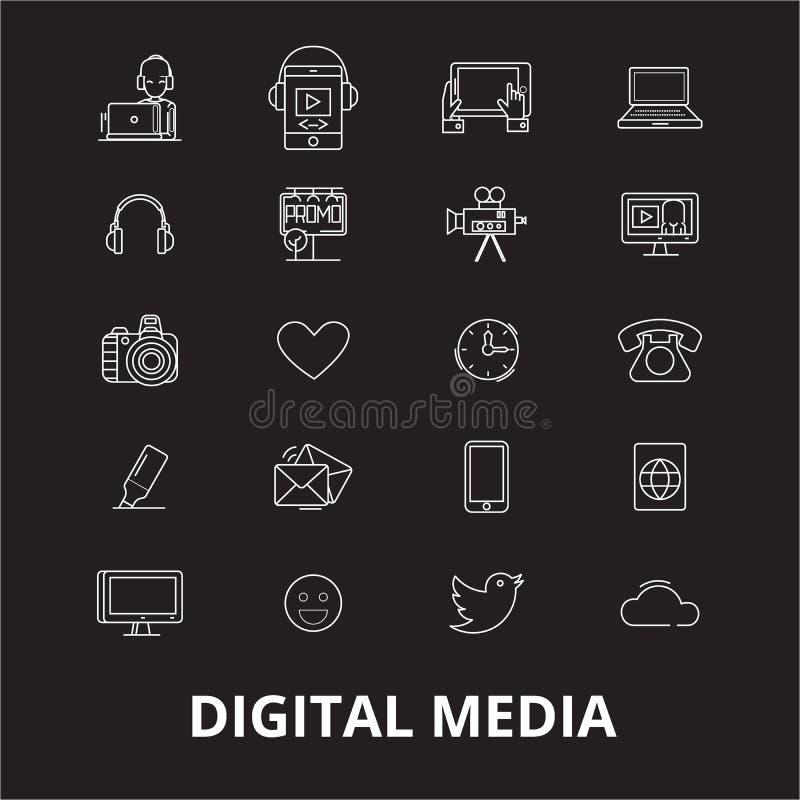 Cyfrowych ikon medialny editable kreskowy wektorowy ustawiający na czarnym tle Cyfrowego konturu medialne białe ilustracje, znaki ilustracja wektor