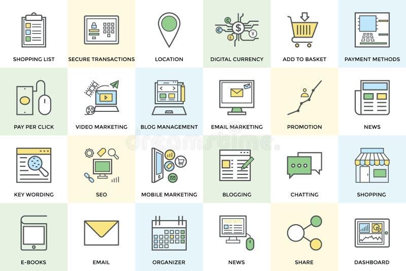 Cyfrowych Marketingowe Śmiałe Wektorowe ikony 1 ilustracji