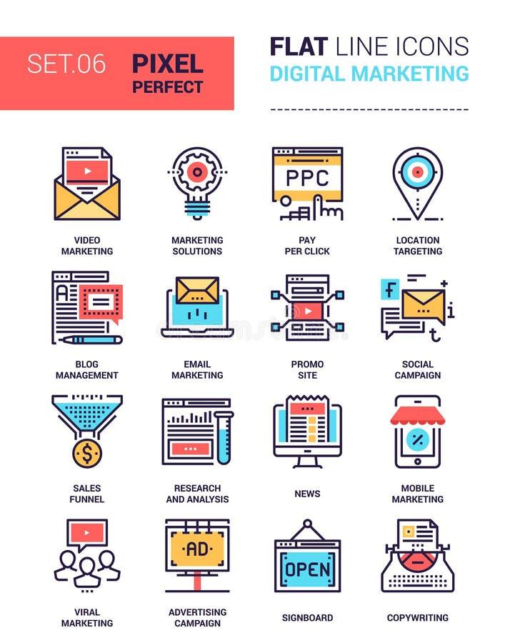 Cyfrowych marketingowe ikony ilustracja wektor