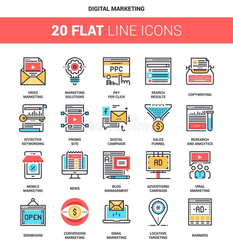 Cyfrowych marketingowe ikony royalty ilustracja