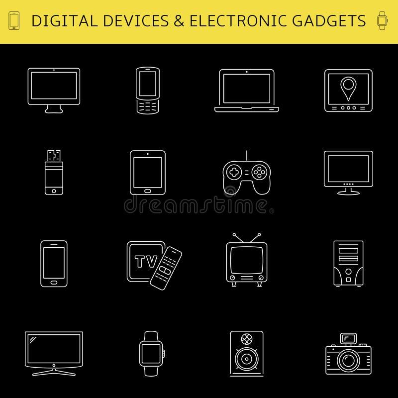 Cyfrowych przyrząda i elektroniczne gadżet ikony ilustracji