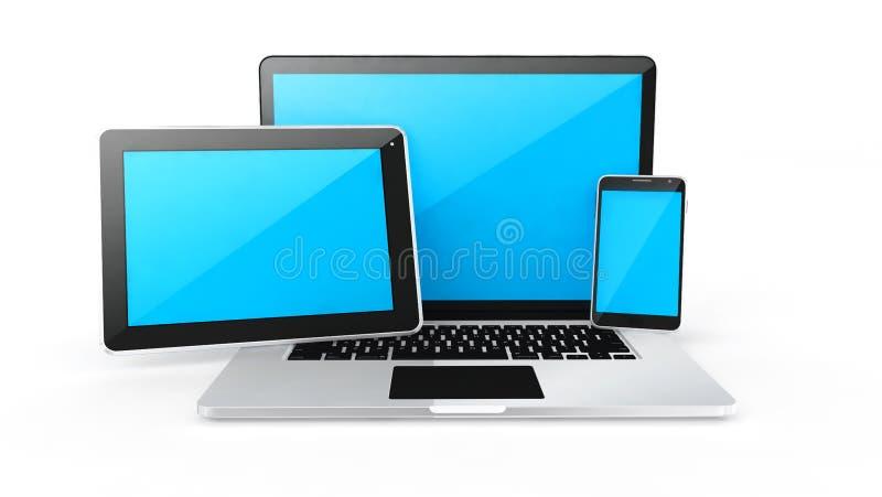 Cyfrowych przyrząda, pastylka i mądrze telefon, ilustracji