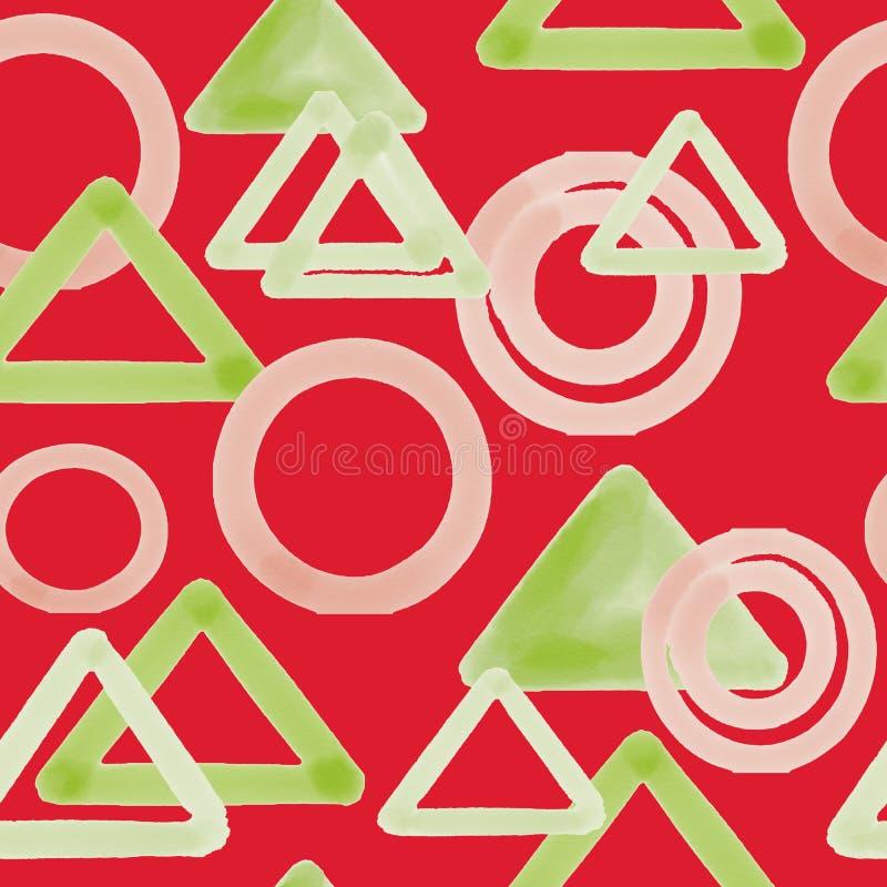Cyfrowych trójboki i okręgu bezszwowy wzór na czerwonym tle ilustracja wektor