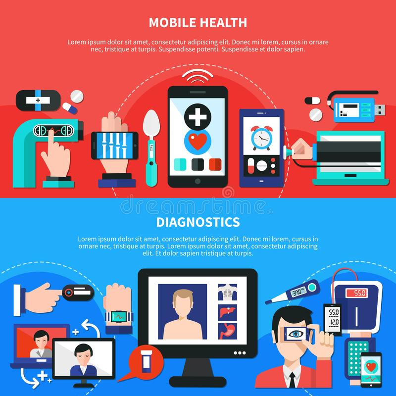 Cyfrowych zdrowie gadżetów mieszkania sztandary ilustracja wektor