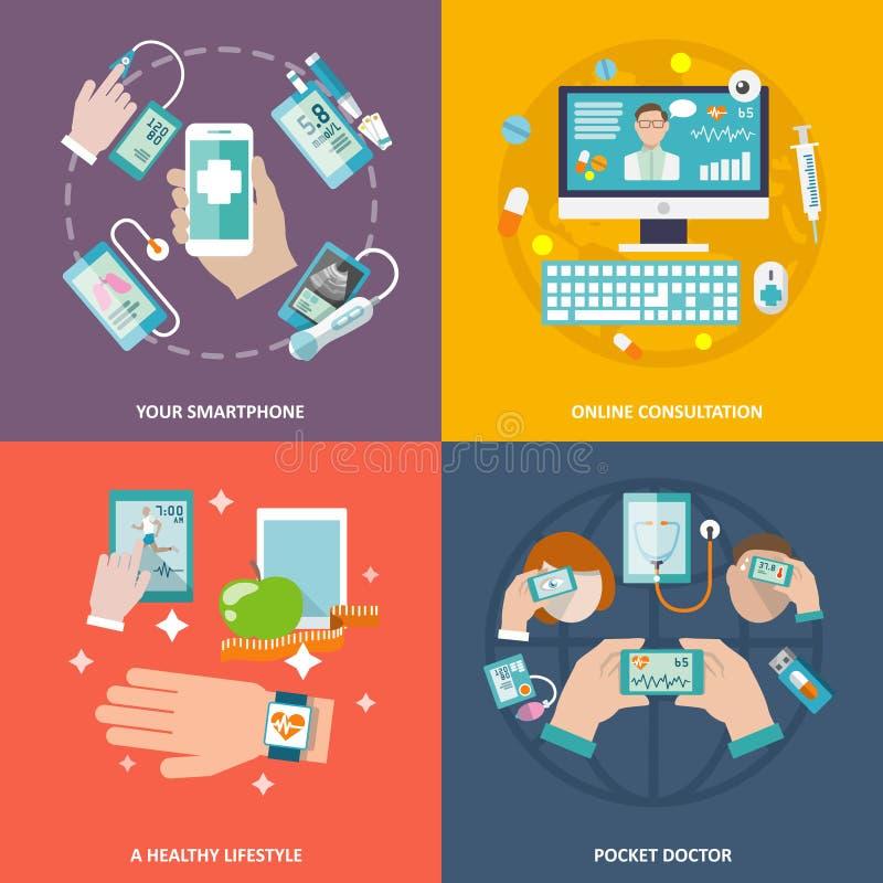 Cyfrowych zdrowie ikona ustawiający mieszkanie ilustracja wektor