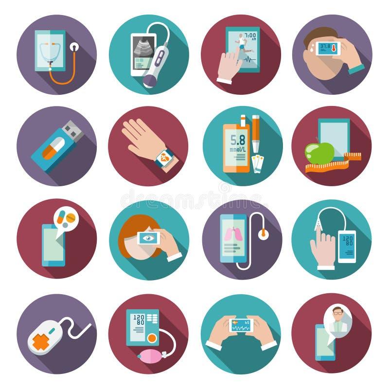 Cyfrowych zdrowie ikony ustawiać ilustracja wektor