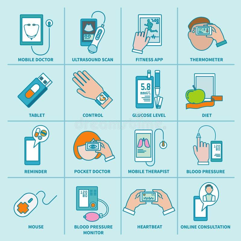 Cyfrowych zdrowie mieszkania ikona ustawiająca linia ilustracja wektor