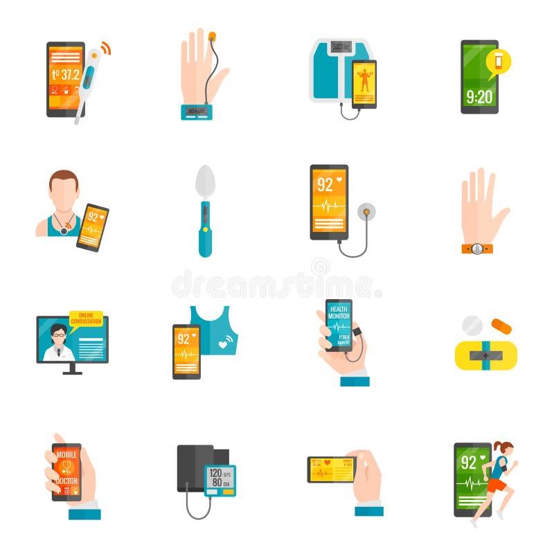 Cyfrowych zdrowie mieszkania ikony ilustracji