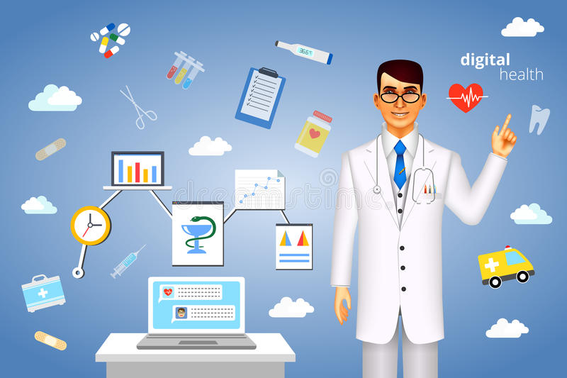 Cyfrowych zdrowie pojęcie z medycznymi ikonami ilustracja wektor
